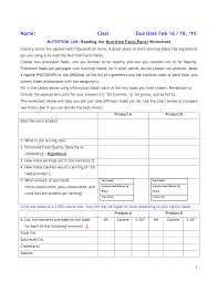 nutrition facts worksheet 100 images food label assignment