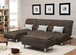 chocolate brown fabric convertible sectional with rectangular