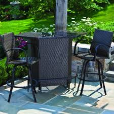 Patio Bar Furniture Set Alfresco Home Outdoor Wicker Bar Set With Granite Top And 2 Swivel