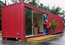 Single Story Tiny Homes Simple Modular Shipping Containers Homes With Red Wall Exterior