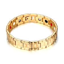 magnetic gold bracelet images New fashion gold color jewelry healing magnetic titanium bio jpg