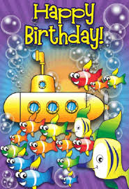 submarine and fish birthday card png