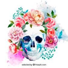geometrics sugar skull with floral crown temporary