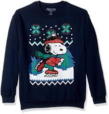 snoopy christmas sweatshirt peanuts snoopy skating pullover christmas sweaters on