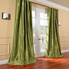 Overstock Drapes Fern Green Solid Faux Silk Taffeta 96 Inch Curtain Panel