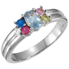 mothers ring with birthstones silver 5 birthstones s ring