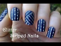 striped nails tutorial in dark blue u0027half u0027 matte nail art youtube