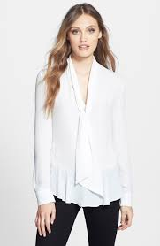 blouse with tie neck vince camuto ruffle hem tie neck blouse nordstrom