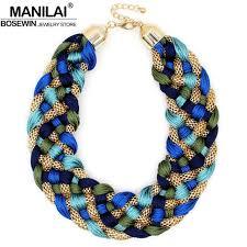 chunky fashion necklace images Manilai fashion weaved handmade big necklace chunky chain women jpg