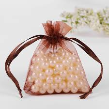 tulle bags 7x9cm brown organza jewelry gift bags coffee beans sacks wedding