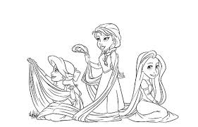 ariel anna laying rapunzel hair coloring pages