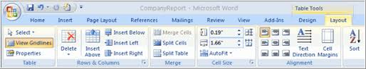 table tools design tab word 2007 working with tables page 3
