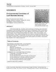 environmental correlates of leaf stomata density pdf download