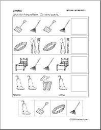 worksheet chores follow the pattern preschool primary abcteach