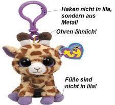 ty beanie boo key clip 10cm plush giraffe safari safari ebay