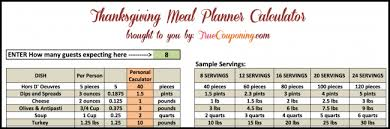 free thanksgiving meal planner calculator type in your