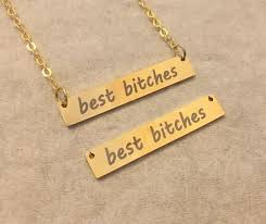 Custom Bar Necklace Best Bitches Necklace Best Friend Gift Best Friend Necklace