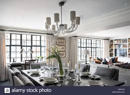 Glass Chandeliers For Dining Room Glass Chandelier From Porta Romana Above Dining Table In Open Plan