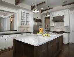 Subway Tile Backsplash Kitchen by Kitchens Yoke Pendants White Carrara Marble Countertops Subway