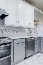 Backsplash For Kitchen With White Cabinet Glass Tile Backsplash Inspiration Purple Glass And Gray