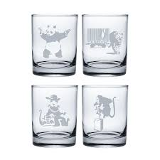 banksy collection 2 stemless wine glasses set of 4
