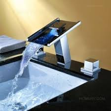 bathroom faucet with led light led light up wide spread waterfall sinik faucet