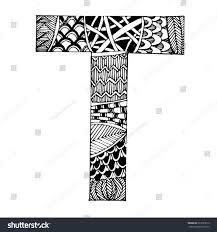 zentangle stylized alphabet letter t vector stock vector 627629012