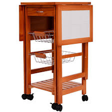Wheeled Kitchen Island Amazon Com Homcom Portable Rolling Tile Top Drop Leaf Kitchen