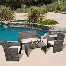 Wicker Patio Table Set 4 Pc Rattan Patio Furniture Set Garden Lawn Sofa