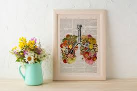 black friday flowery lungs human anatomy print on dictionary