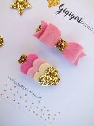 felt hair gold and pink glitter hair set of 2 felt hair by gigigirlacc