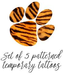 tiger paw temporary tiger stripe pattern set of 5 tiger