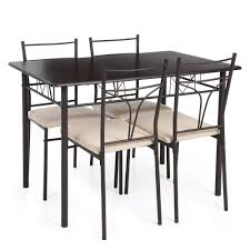 amazon com ikayaa 5pcs table and chairs set 4 person metal