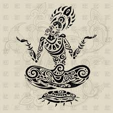 yoga tattoo pictures woman in yoga or meditation lotus pose tattoo style royalty free