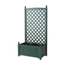 dmc lexington 28 in x 16 in hunter green wood planter with
