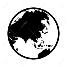 asia globe map world map globe or planet earth showing asia line icon for