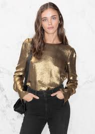 metallic blouse metallic satin blouse gold other stories