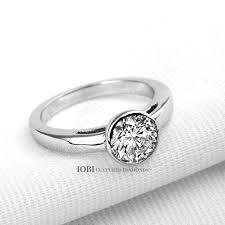 bezel ring coco 1 25ct bezel set iobi cultured diamond solitaire ring