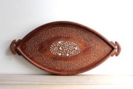 boho style vintage wood tray carved decorative wooden tray
