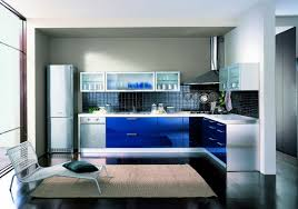 blue and white kitchen inspiration with black backsplash tiles and