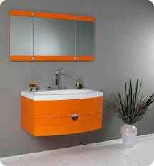 Modern Bathroom Vanity Mirror - fresca energia orange modern bathroom vanity with three panel
