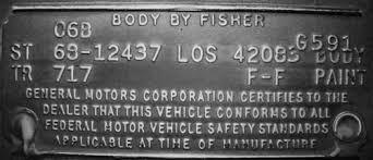 1968 camaro los angeles trim tags