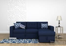 Sofa Fabric Cleaner Bangalore Alfonso Right Arm Convertible Sofa Bed Fabric Blue