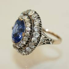 antique rings sapphire images Antique sapphire and diamond engagement ring jpg