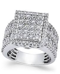 diamond rings square images Macy 39 s diamond square cluster engagement ring 3 ct t w in 14k tif