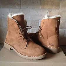s ugg ankle boots with laces ugg quincy chestnut suede sheepskin lace up ankle boots shoes us