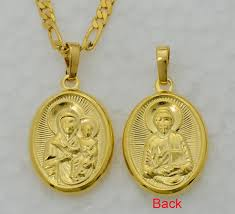 gold jesus pendant necklace images Virgin mary jesus image pendant necklace 22k php