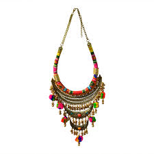 long boho necklace images Divamm bohemian pom pom golden afghani necklace silver oxidized jpg