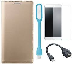 matrix flip cover for lg k7 with tempered glass led light and otg cable