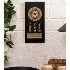 buy unravel india warli hand painted wooden wall clock with dhokra